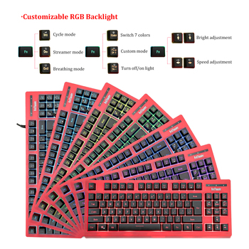 RedThunder K870 RGB Backlit Computer Wired Keyboard 87 Keys Teclado USB Powered for Desktop Laptop Gaming and Typing 2