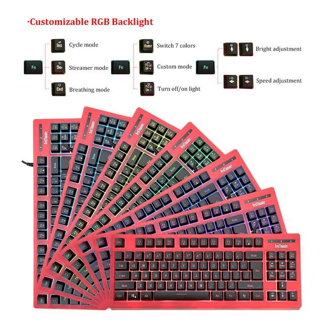 RedThunder K870 RGB Backlit Computer Wired Keyboard 87 Keys Teclado USB Powered for Desktop Laptop Gaming and Typing 2