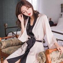 Feier Womens  Lingerie Robe Satin Silk Woman Female Bathrobe Robes Sleepwear Ladies Sexy for Women