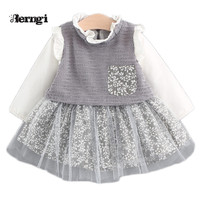 Mùa thu Bé Cô Gái Váy Công Chúa Mới Thương Hiệu Cô Gái Ren Chắp Vá Floral Dệt Kim Túi Gạc Kids Dresses cho Bé Nh