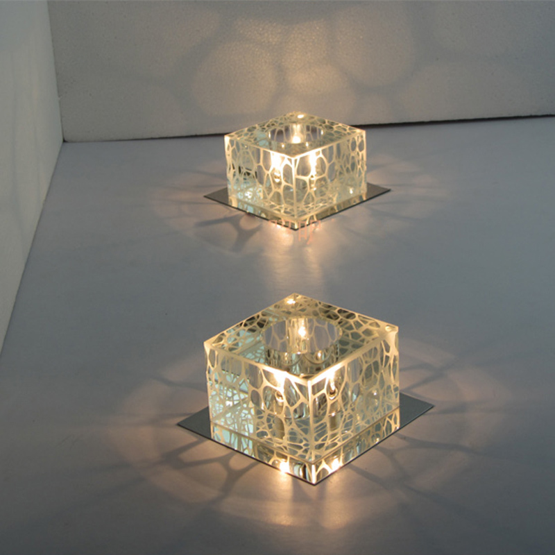 Modern 5 Square Water Cube Crystal Ceiling Lamps Hallway Flush Mounted Light Porch Balcony Lighting Fixture In Lights From