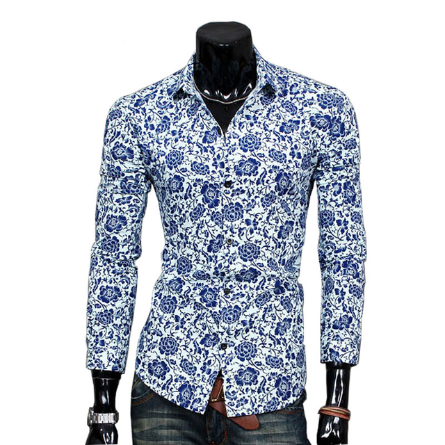 d4189ede29e Summer Fashion Mens Floral Dress Shirts Long Sleeve Casual Shirt Men Slim  Fit Design Formal Shirt Camisa Social chemise homme 40
