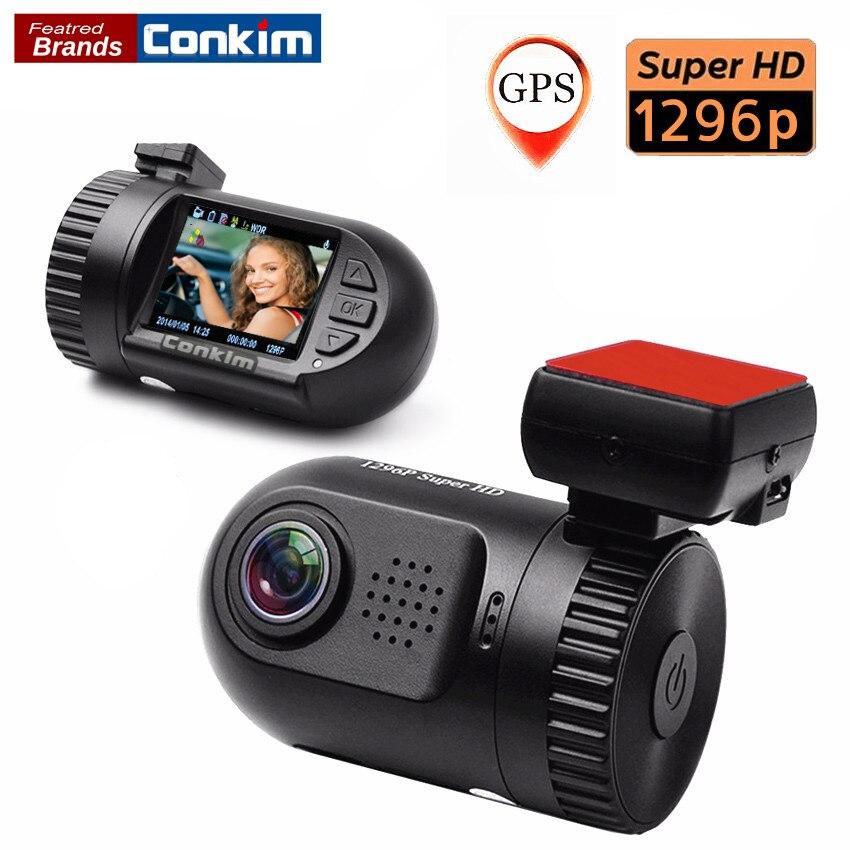 Conkim Voiture Caméra Enregistreur Vidéo Numérique Mini 0805 Ambarella A7LA50 CPU Super HD 1296 P Voiture DVR GPS Logger Dash Cam SOS LDWS