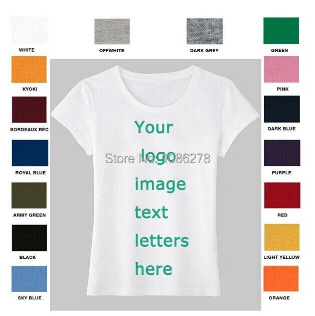 Women 39 s plain t shirt custom personalized text logo for Best custom t shirt company