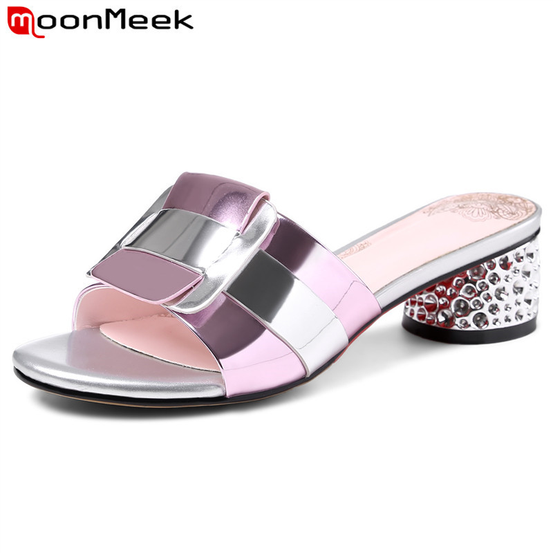 MoonMeek 2019 fashion summer new shoes woman thick high heels shoes cow leather pu shoes mixed