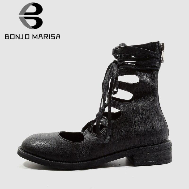 Bonjomarisa 2019 봄 새로운 빅 사이즈 33 43 여성 발목 랩 플랫 정품 가죽 로마 스타일 블랙 로우 힐 신발 여성-에서여성용 플랫부터 신발 의  그룹 1