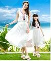 Платье Ребенка Летом 2016 Белый Праздник Кисточкой Мать Дочь Платья