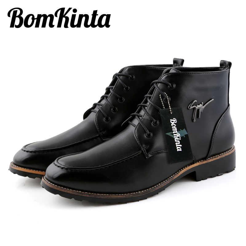 e8e47b1eb2ec ... Bomkinta Мода PU кожаные сапоги Для мужчин бренд, на шнуровке Для  мужчин повседневная обувь из ...