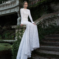 LORIE Beach Wedding Dresses White Sexy Backless O Neck Mermaid Wedding Gown Lace Long sleeve Bridal Gowns 2019 Plus size