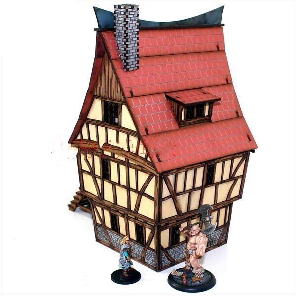 3 étages maison Gloomhaven église guerre Table jeux marteau PP Infinity TRPG Table RPG panneau laser découpe Basswood planche en bois