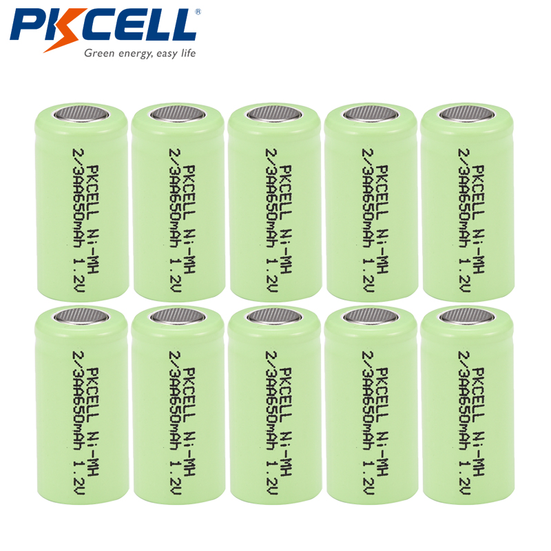 2//3AA 1.2v Nimh Rechargeable Battery with Flat top 650mah,4 Counts