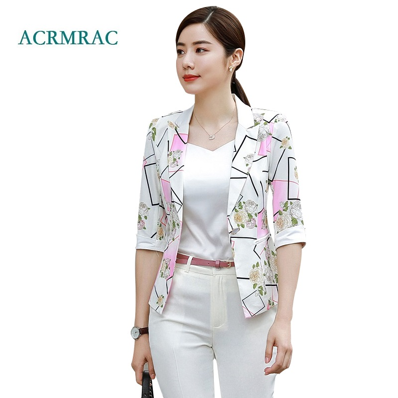 ACRMRAC Women 2018 New summer Half sleeves Short style printing Slim Thin Casual Blazers jacket