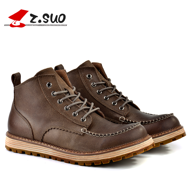 ФОТО Z.Suo men's boots, genuine cow leather shoes in the tube, men's casual fashion stitching Martin boots. botas hombre zs16011
