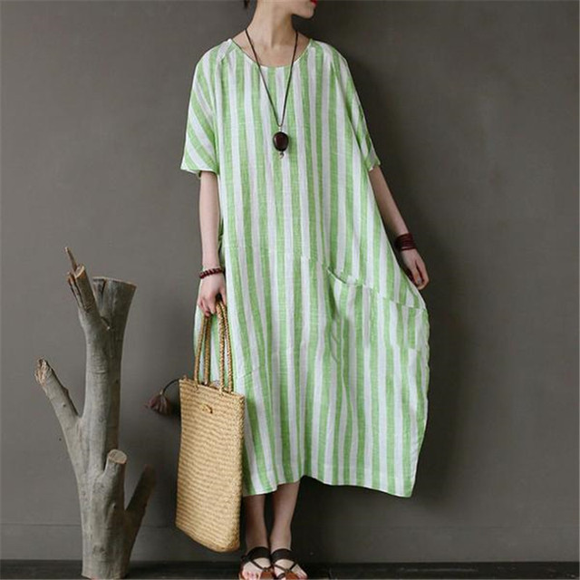 c5e29341773 BUYKUD Cotton Linen Summer Green Stripe Long Dress Loose High Quality Round  Neck Short Sleeve Casual Maxi Dresses With Pockets