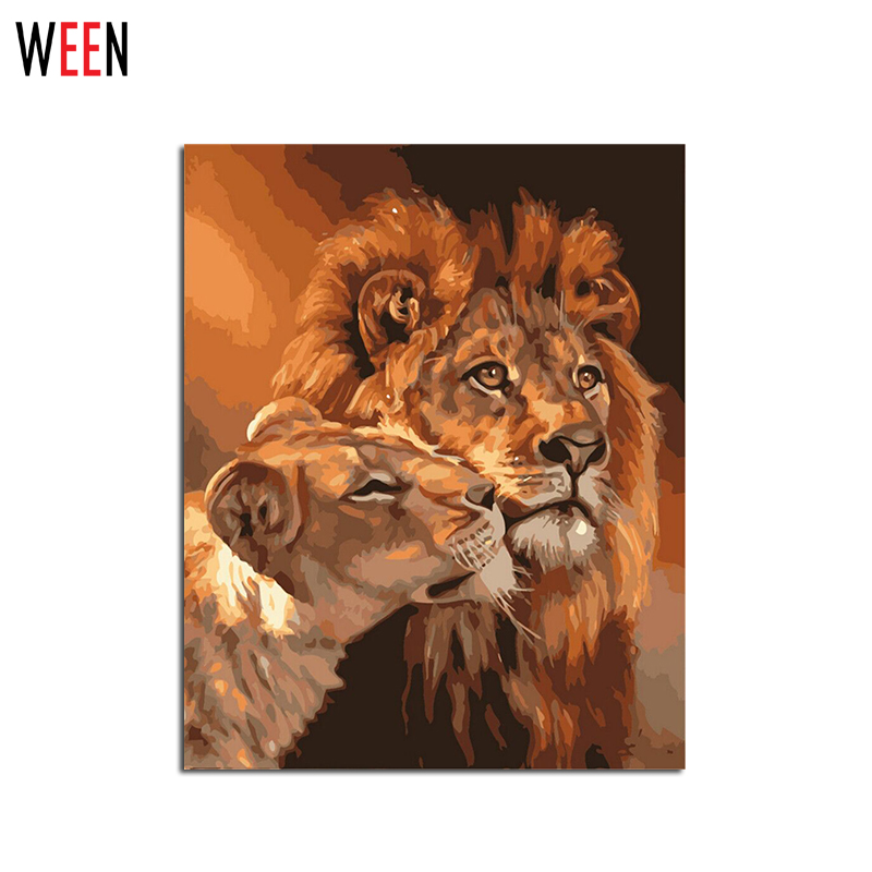 frameless lion kings painting by numbers kits diy coloring oil drawing paint on canvas for wall