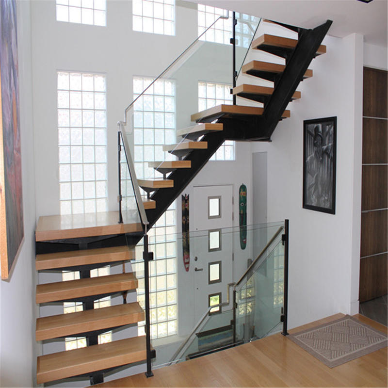 Modern L Shaped Indoor Steel Wood Staircase Designs Living Room | Steel And Wood Staircase | Glass | Custom | Handrail | Contemporary | Inside