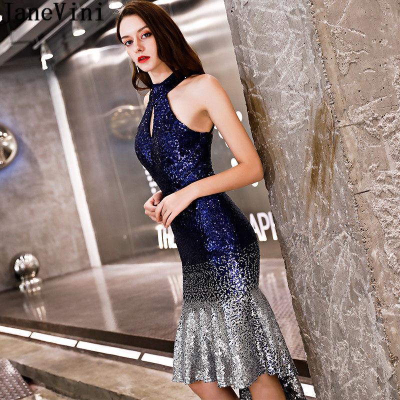 JaneVini Sexy Short Tight   Bridesmaid     Dresses   Party Wedding Gradient Bling Sequins Mermaid Knee Length Formal Maid Of Honor Gowns
