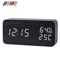 JINSUN Moderne LED Wekker Despertador Temperatuur Vochtigheid Elektronische Desktop Digitale Tafel Klokken
