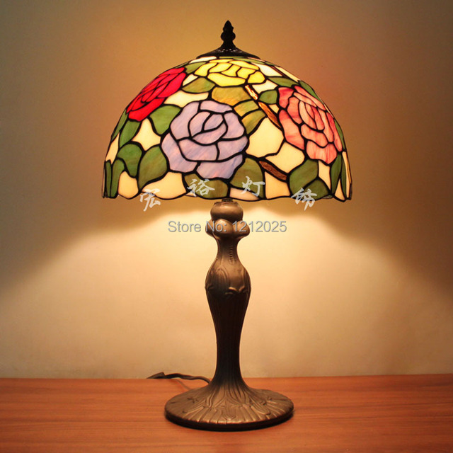 Antique Tiffany Style Rose Table Lamps For Bedroom Stained Glass Lampshade  Home Decorative Desk Lightings Stand