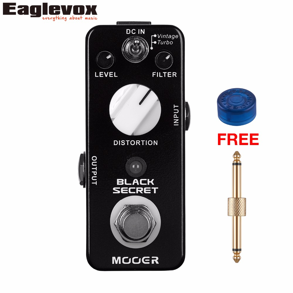 MOOER Black Secret Distortion Guitar Effects Pedal True Bypass with Free Connector and Footswitch Topper mooer ensemble queen bass chorus effect pedal mini guitar effects true bypass with free connector and footswitch topper
