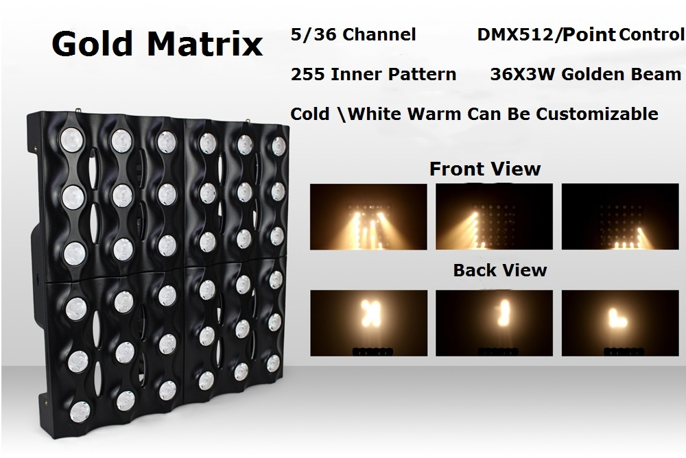 Dot Control Gold Matrix Beam Lights High Quality 36X3W Warm/Cold White /Amber Optional LED Stage Lights DMX 5/36 ChannelsDot Control Gold Matrix Beam Lights High Quality 36X3W Warm/Cold White /Amber Optional LED Stage Lights DMX 5/36 Channels