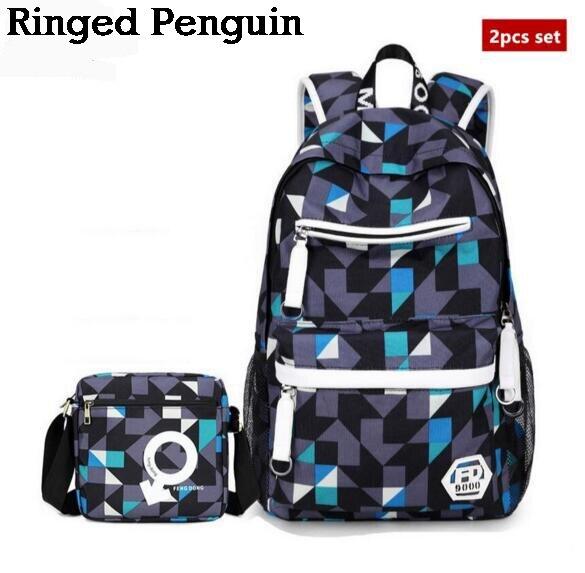 0da753043989b 2 sztuk zestaw chłopców torby szkolne bookbag plecak liceum torba duży  czarny szary czerwony podróży plecak dla mężczyzn na ramię torba w 2 sztuk  zestaw ...