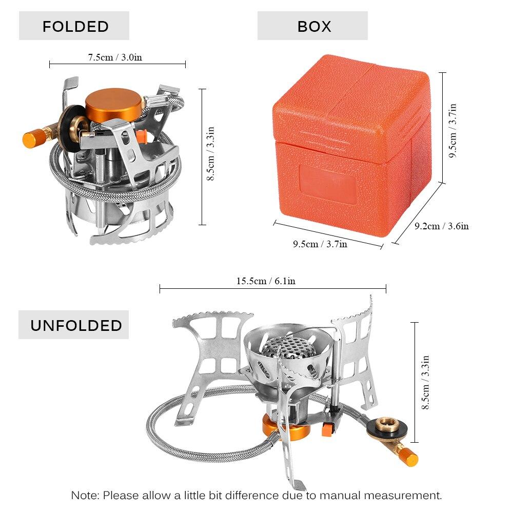 Image 5 - נייד Windproof קמפינג חיצוני כיריים גז בישול כיריים מתקפל פיצול צורב עם גז המרה ראש מתאםכיריים לחצר   -