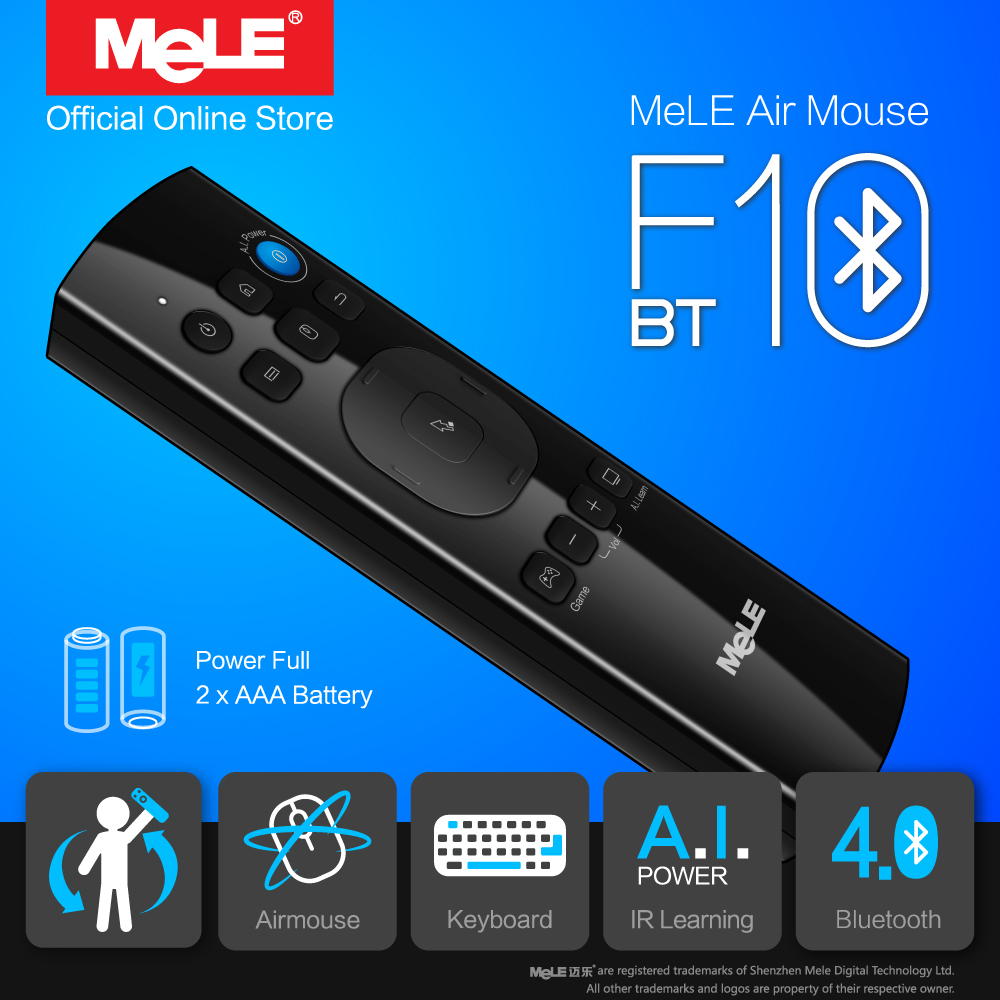 Mele F10 Bt Wireless Keyboard Fly Air Mouse Remote Control