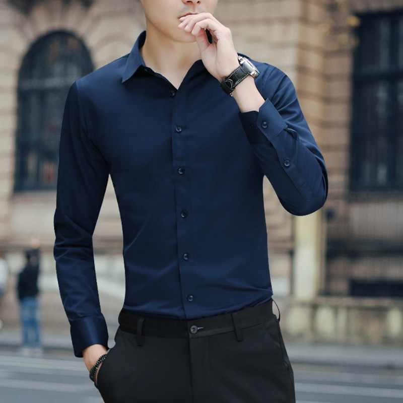 大サイズ男性のビジネスカジュアル長袖シャツ白青黒スマート男性社会ドレスシャツプラス