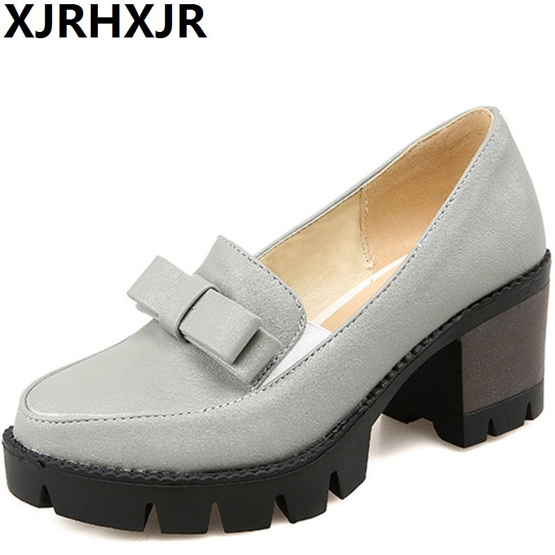 XJRHXJR Spring Autumn Women Shoes Fashion Round Toe Thick Heels Platforms Shoes Female Casual Pumps High Heels Big Size 34-43 plusbig size 34 43 women s fashion shoes woman flats spring shoes female ballet shoes metal round toe solid casual shoes 237