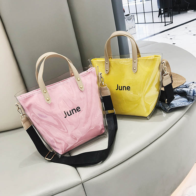 Fashion Women Clear Transparent Wide Shoulder Belt Pouch Jelly Candy Summer Beach Handbag Woman Shopping Cosmetic Storage Bags