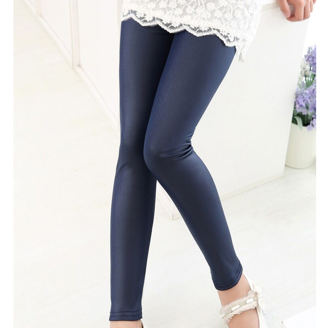 5212be80c481a Spring Fall new fashion PU leather leggings for girls kids children stretch  skinny pencil pants classic solid Capris trousers. Price