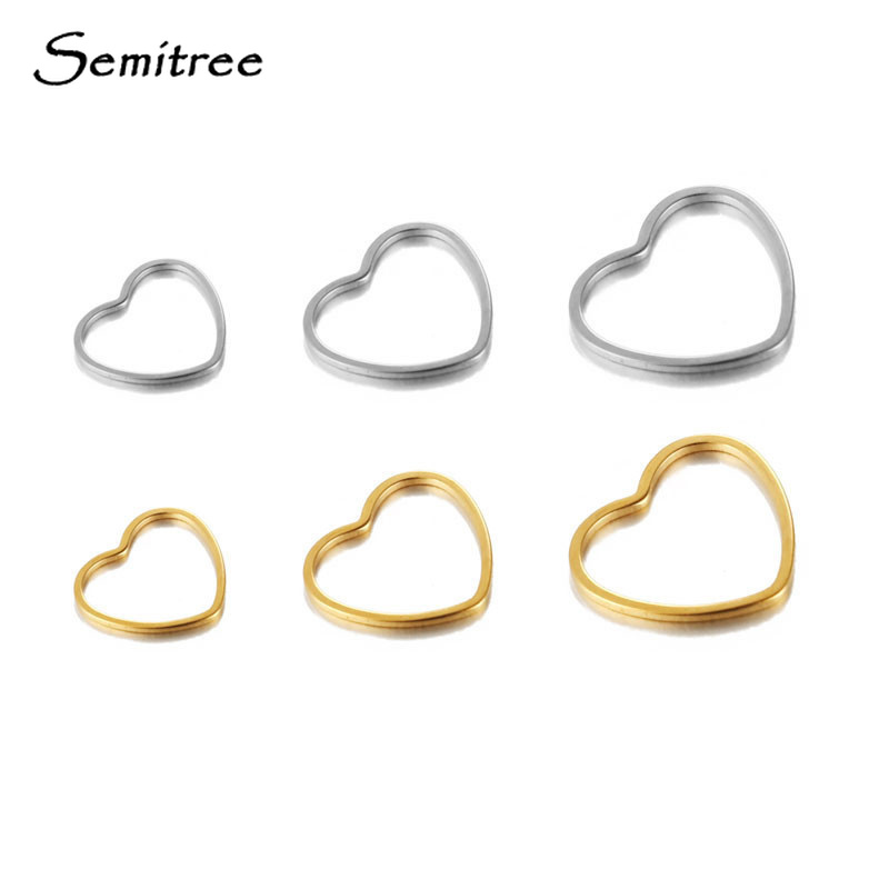 Semitree 5pcs Heart Charms Bracelet Connector Stainless Steel Necklace Pendant DIY Jewelry Accessories Handmade Crafts Supplies