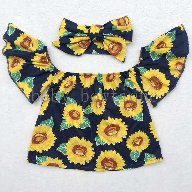 8056138db2e5 Sunflower off the shoulder top Baby girl flutter sleeve tops Girls OUTFIT