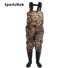 SPORTSHUB Durable Fishing Waders Outdoor Fly Stocking Foot Camouflage Waterproof Boots Pants FT0081
