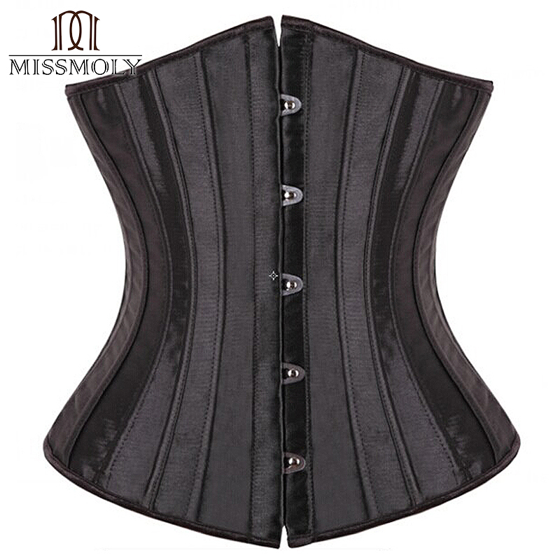 28 Sprial Steel Boned Black Shapewear Waist Cincher Slim Control Body Shaper Cincher Underbust Corset Sexy Women Plus Size S-6XL