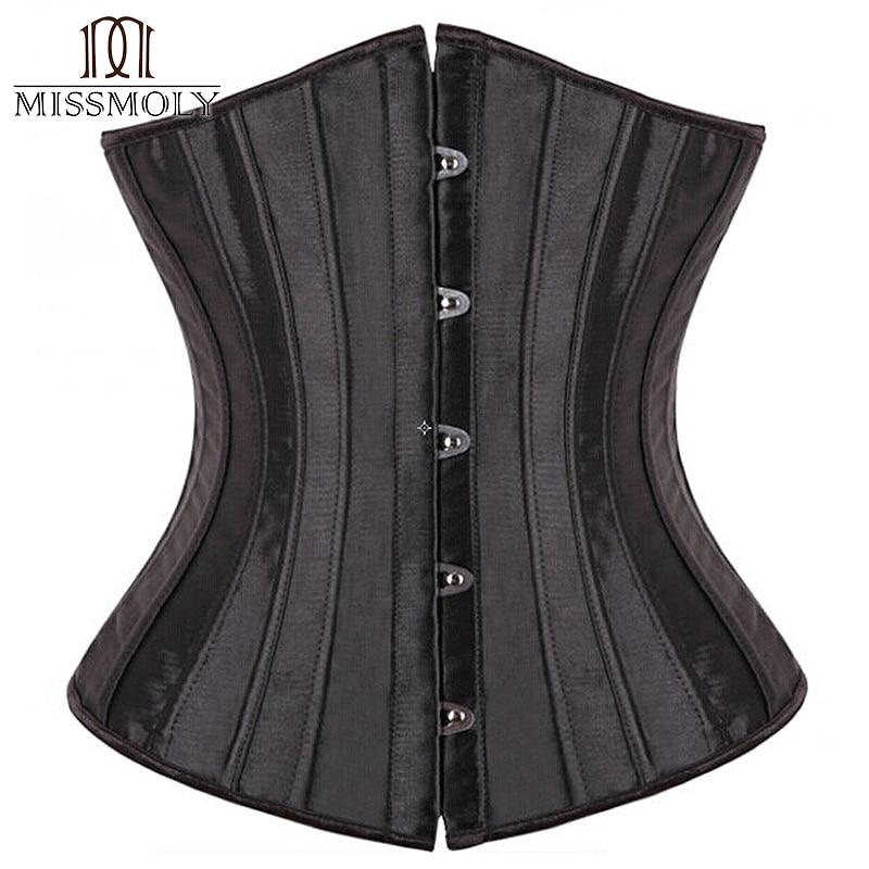28 Sprial Steel Boned Black Shapewear Waist Cincher Slim Control Body Shaper Cincher Underbust   Corset   Sexy Women Plus Size S-6XL