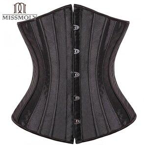 Image 1 - Corset noir pour femmes, ceinture mince, contrôle à la taille, sous le buste, Corset Sexy, grande taille S 6XL