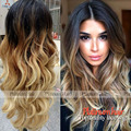 Top Quality Synthetic Lace Front Wig Ombre Black Brown Blonde Color Glueless Wig Heat Resistant Body Wave Wigs for Black Women