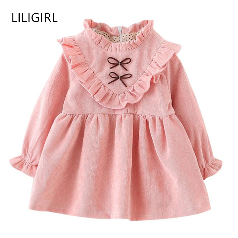 8e1251a10 LILIGIRL 2 years Kids Autumn Solid Color Dress for Girls Baby Cotton ...