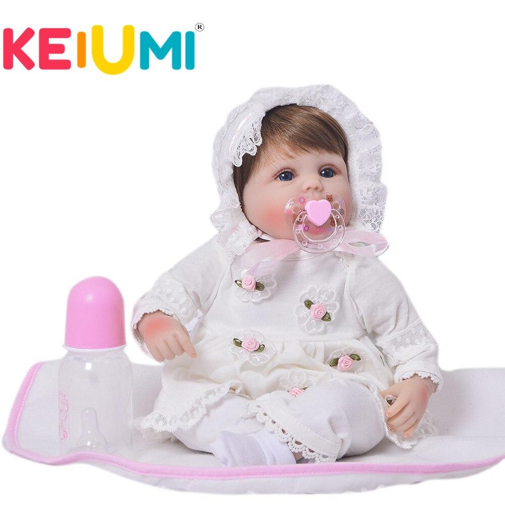 Keiumi 17 Polegada lifelike reborn boneca menina silicone macio 42 cm pano corpo realista brinquedo do bebê boneca étnica para crianças presentes de aniversário