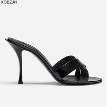 Italian Designer High Heels Luxury Sandals Women Shoes 2019 Ladies Genuine Leather Summer Brand Sandals Black Shoes Woman 43 цены