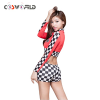 Cosworld Sexy Cheerleader Costume Girls Dance Costume Mosaic Top Skirt Sets Apron Stage Costumes For Car