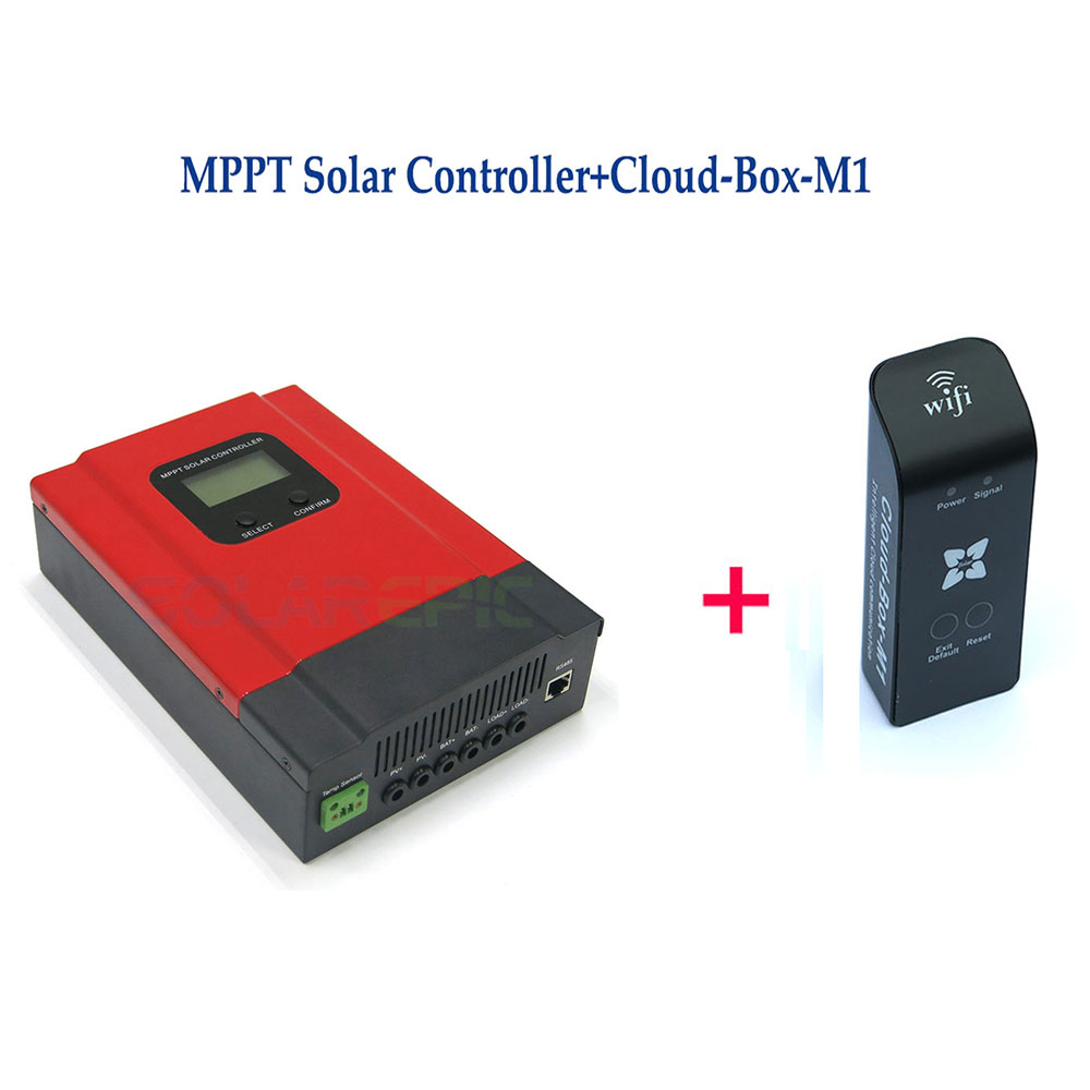 50A MPPT Solar Charge Controller DC12V/24V/36V/48V Auto Battery Charger With LCD Display + Cloud-Box-M1 For MPPT Solar Charger 100w folding solar panel solar battery charger for car boat caravan golf cart
