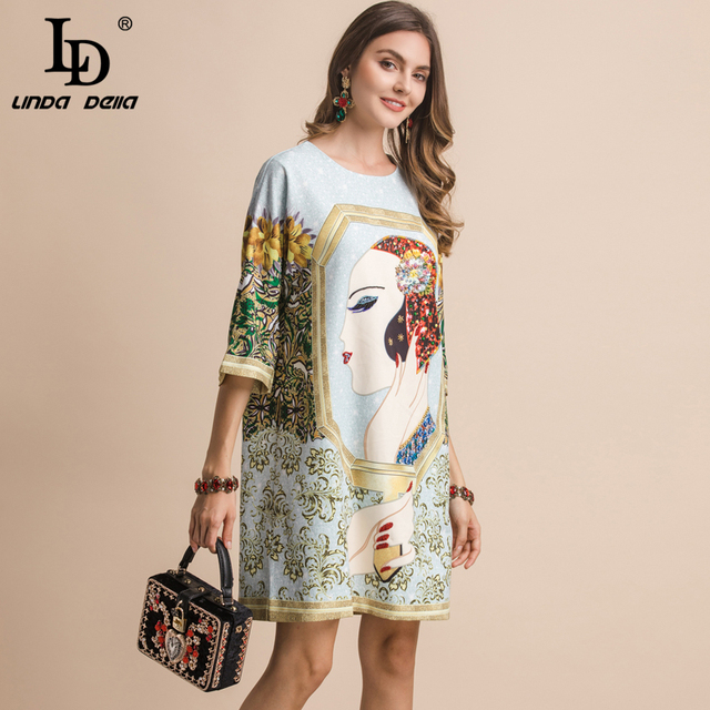 Fashion Women's  Half Sleeve Gorgeous Crystal Character Printed Elegant Loose Dresses