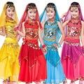 4 pcs (top + Calças + belt + cadeia mão) Crianças vestido de Dança Do Ventre Trajes de Dança Do Ventre Crianças meninas Salão De Baile Roupas de Desempenho