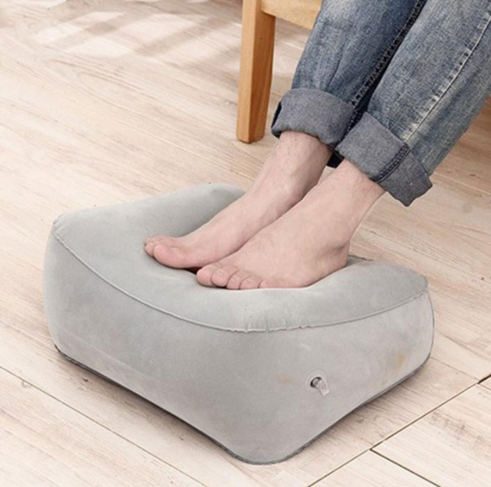 Flocked Inflatable Foot Pad High Rest Pillow Flocking PVC Foot Pillow For Travel Outside Outdoor Massage Ottoman Car Plane #EW
