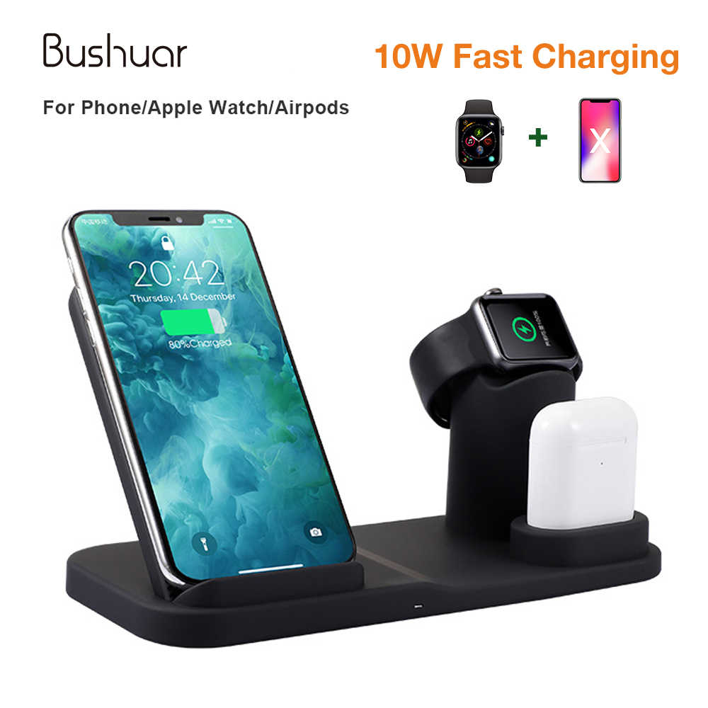 Qi Wireless Charger 10W phone charger for iPhone 8 X XS Max Apple Watch 1/2/3/4 Airpods Fast Charging Dock for Samsung S9 S8 S7