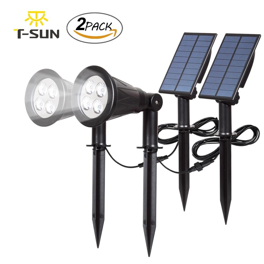 T-SUN 2PACK Solar Spotlights Waterproof Outdoor Garden Wall Lights Adjustable Landscape Light  for Tree Patio Yard Garden 6000k