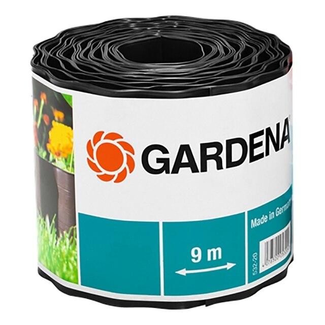 Бордюр GARDENA 00534-2000000 (Длина 9 м, высота 20 см, для аккуратного оформления краев грядки и газона, предотвращает проникновение сорняков, материал- пластик)